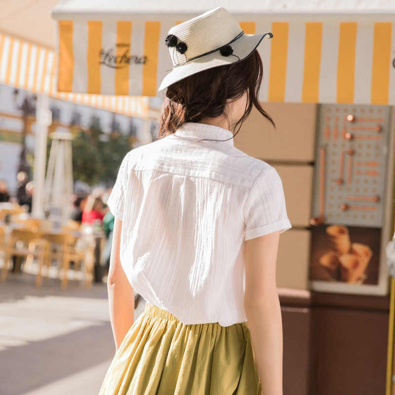 INMAN Summer Matched Notched Collar Blouse 2019 New Arrival White Patchwork Style Women Blouse Office Lady Short Sleeve Shirt