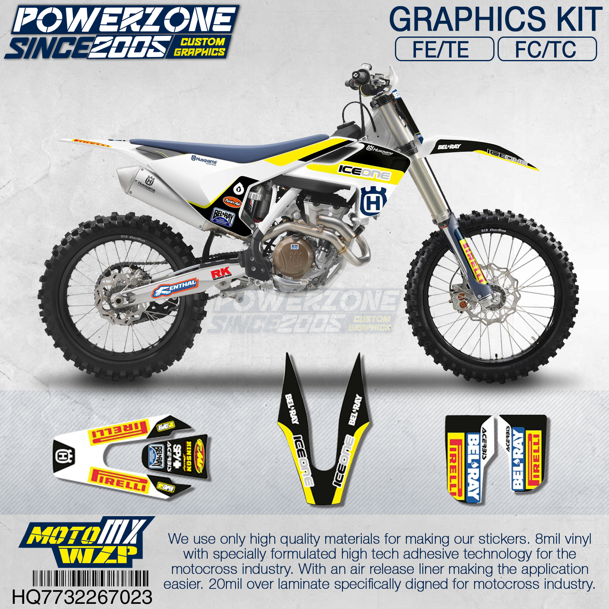 PowerZone Customized Team Graphics Backgrounds Decals 3M Custom Stickers For Husqvarna 2017 To 2019 FE TE FC TC 250 To 500cc 723