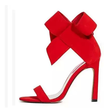 ФОТО 2016 new sexy super large bow, bow, sandals, fish mouth, high-heeled shoes, wedding shoes, shoes, red, 42 yards