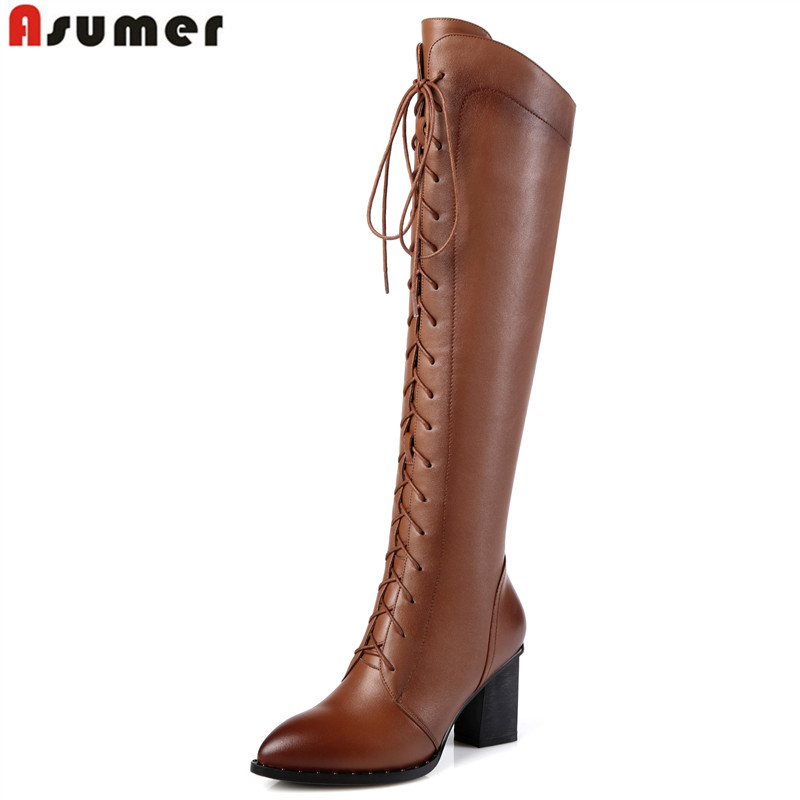 ASUMER 2018 New fashion thick high heels women motorcycle boots lace up ladies winter cow soft leather boots snow shoes size 42 asumer 3 colors new big size 34 43 women boots winter fashion lace up knee high boots sexy woman shoes snow motorcycle boots
