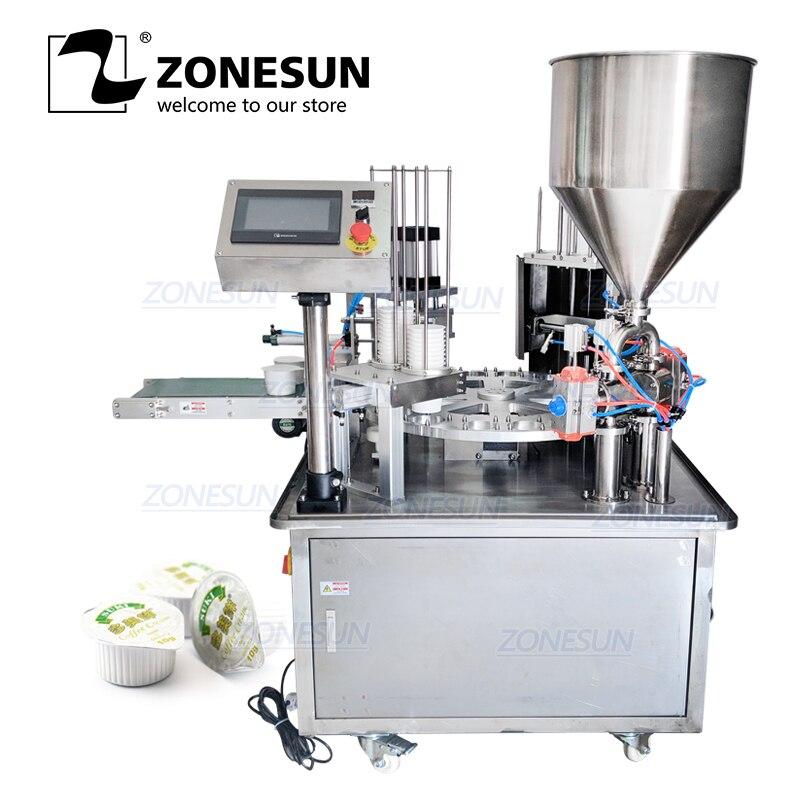 ZONESUN Автоматическое Желе йогуртное мороженое сок сахар мед чашевидный шлифовальный круг Discal наполнение укупорка герметизация машина