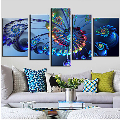Canvas Art Hand Painted 5 piece Ferris Wheel Modern Blue Still Life Wall Picture for Living Room Wall Art Poster for Wall Decor