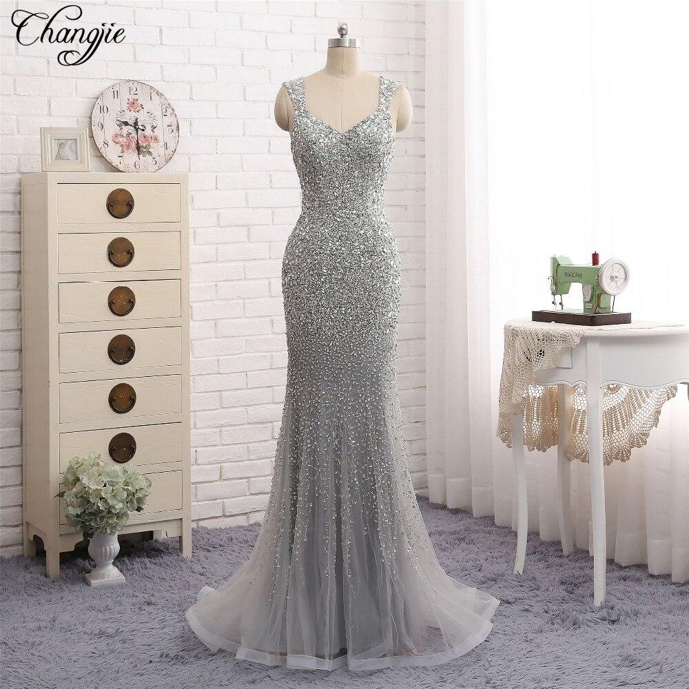 New Design Mermaid Evening Dresses Sweetheart Neck Cap Sleeve Floor Length Beading Crystal Tulle Long Prom Dresses abendkleider