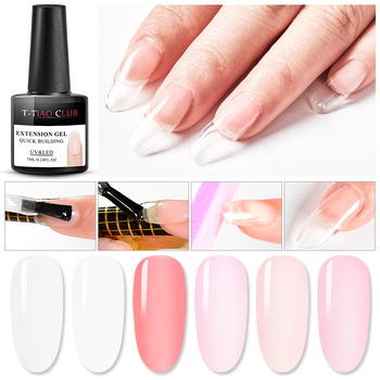 T-TIAO CLUB 7ml Quick Extension Gel Nude Clear Pink White UV Nail Extension Building Gel Polish Nail Tips Art Manicure Soak Off soak off poly gel uv acryl gel quick building 15ml finger extension polygel builder gel camouflage uv led hard builder nail gel