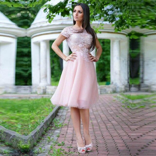High End Custom Made Plus Size Short Evening Dress Nude Pink Chiffon ...