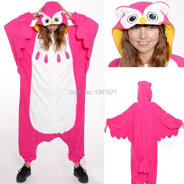 HKSNG Women Men Adult Winter Animal Red Rose Magenta Owl Christmas Pajamas  Onesie Cosplay Costume Homewear For Halloween Party b8402426d53a1