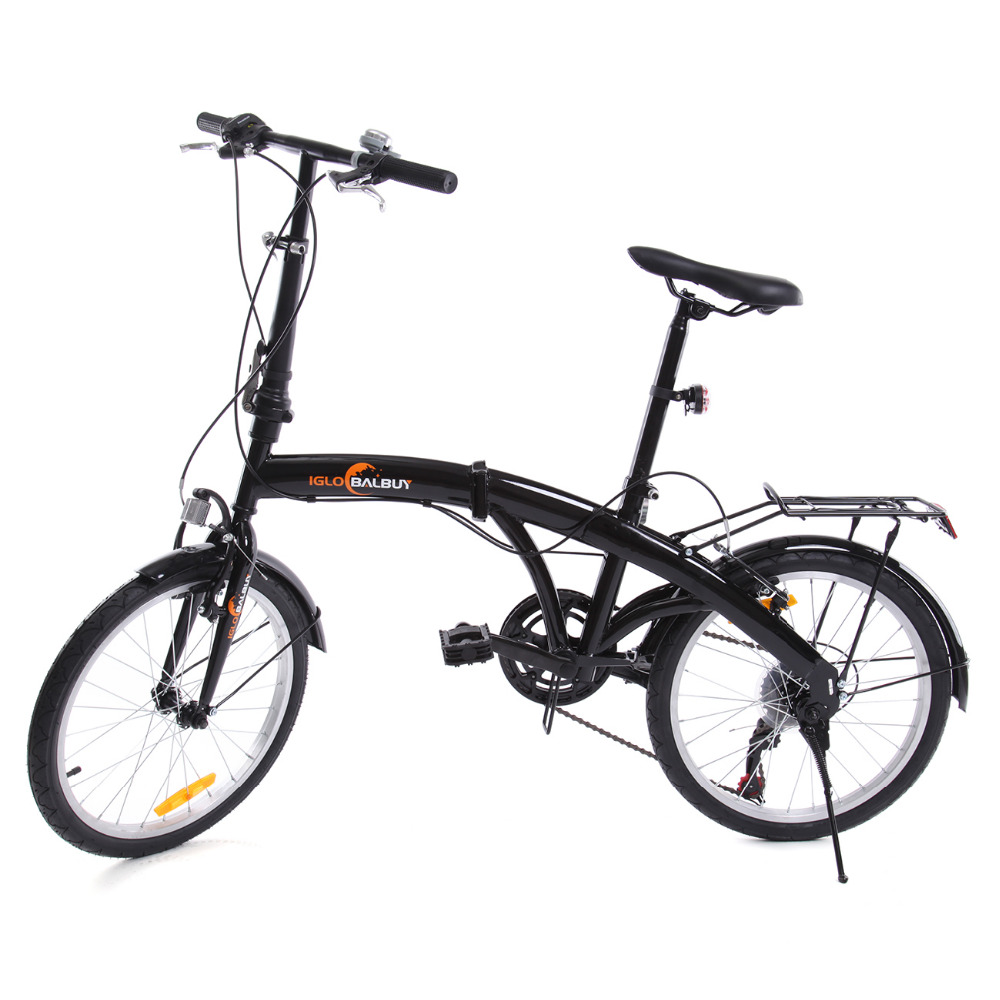 (Ship from Germany) Black 6 speed folding Foldable Bike Bicycle 20 inch with Bell and LED Battery Light Great for 7+Years Old rockbros titanium ti pedal spindle axle quick release for brompton folding bike bicycle bike parts