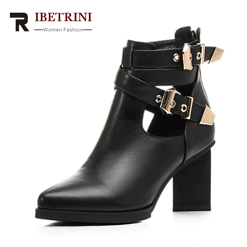 ФОТО RIBETRINI Size 34-42 Fashion Women Summer Spring Double Buckle Ankle Boots Sexy Pointed Toe Chunky High Heels Platform Shoes