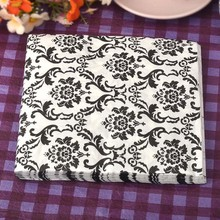 3 packs 60pcs Black Flourish Napkin Paper 100% Virgin Wood Tissue for Party Wedding Decoration цена и фото