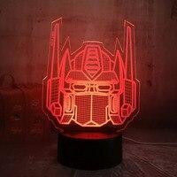 옵티 머스 프라임 캐릭터 보이 선물 트랜스 포머 3D LED Illusion 데스크 테이블 RGB 야간 조명 다채로운 램프 Kids Boys Birthday Gift
