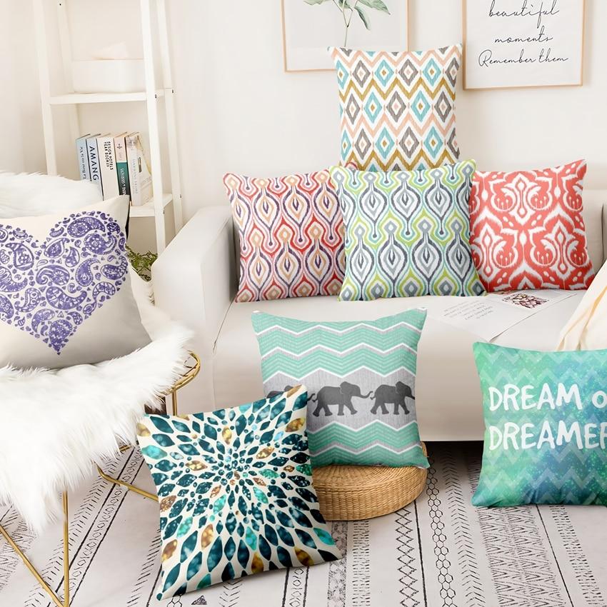 Modern Color Geometry Printed Pillowcase Abstract Art Cushion Decorative Pillow Home Decor Sofa Throw Pillows Almofadas 45*45cm