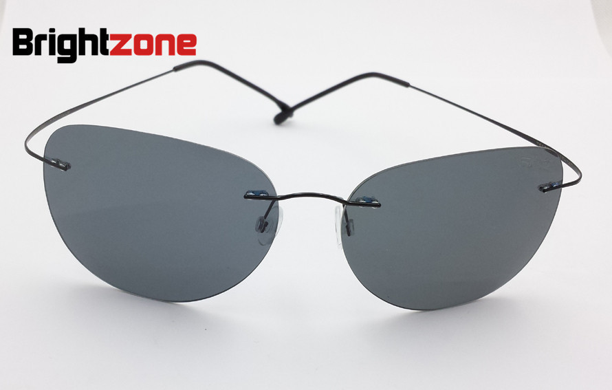 Ultra light Rimless Pilot Sunglasses Color Film Memory ...