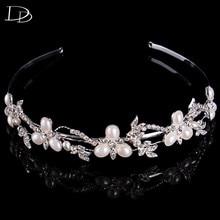 Vintage Design Wedding Hair Accessories Imitated Pearls Crystal Bridal Hair Crown Silver Color String Flower Dress Diadem F006