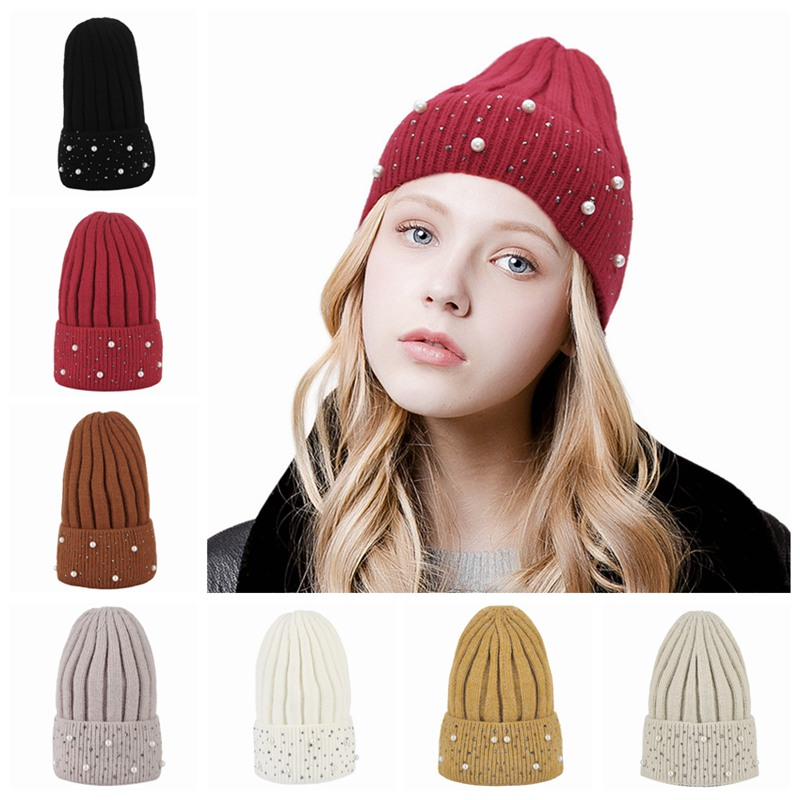 f81327ba11edb Winter Knit Caps Women Hats Trendy Pearl Rhinestone Beanie Cap Lady Casual  Warm Knitted Skullies Beanies Short Plush Lining-in Skullies   Beanies from  ...