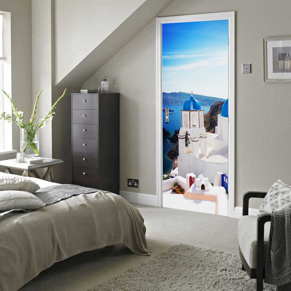 DIY 3D Paesaggio di Mare Porta Sticker Per Camera Da Letto Soggiorno ...