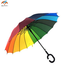 Colorful Rainbow Double Layer UV Proof and Windproof Inverted Umbrella With C-Shaped Handle for Car Outdoor 0D