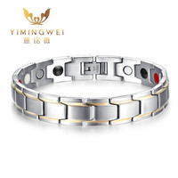 5PCS [YMW] Trendy Magnet Bracelet Bangle for Men Stainless Steel Health Care Magnetic / Germanium Jewelry Adjustable size