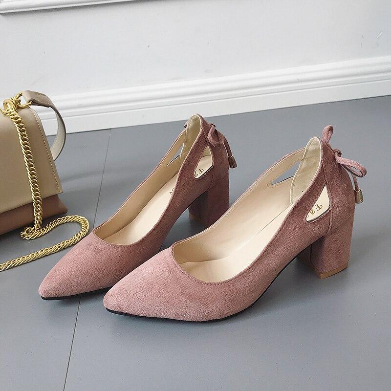 2018 Mode Frauen Pumpen Block High Heels Schuhe Damen Spitz Wildleder Flach Hochzeit Schwarz Rosa Khaki Schuhe Große Größe 35-44