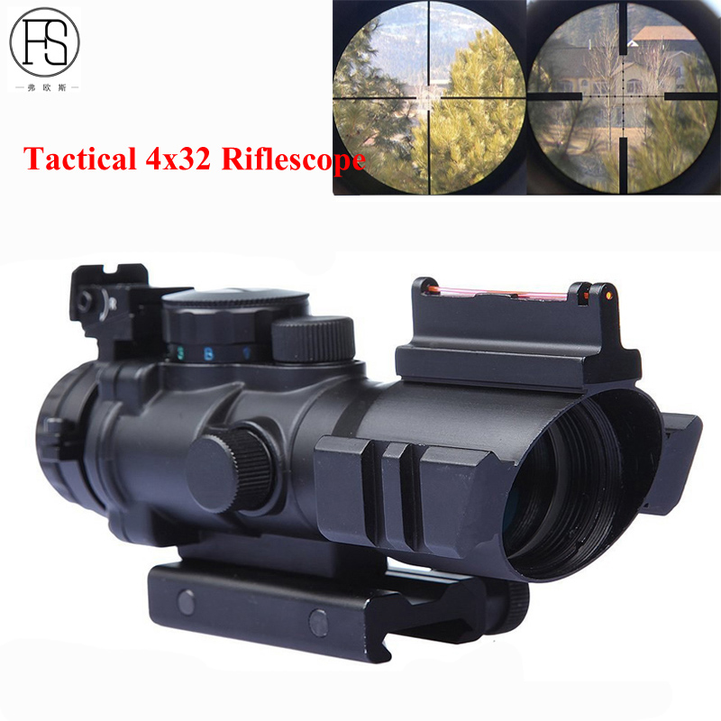 Hot Sale Tactical 4X32 Mini Optics Sniper Scope Compact Riflescopes Airsoft Sight Gun Rifle Shooting Hunting Scopes 20mm Rail стоимость