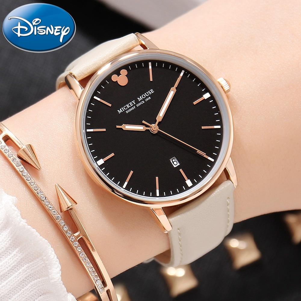 Women Dress Fashion Simple Calendar Luminous Hand Quartz Leather Band Watch Female Beautiful Mickey Clock Genuine