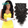 100g 140g 200g Clip In Remy Hair Wavy Brazilian Virgin Clip In Hair Extensions Full Head Clip In Human Hair Extensions Body Wave