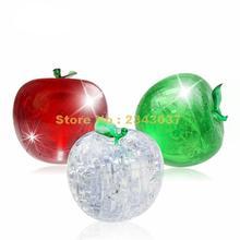 41 шт дети 3d Кристалл Головоломка-красный зеленый Фрукты Яблоко обучение и образование для детей игрушки
