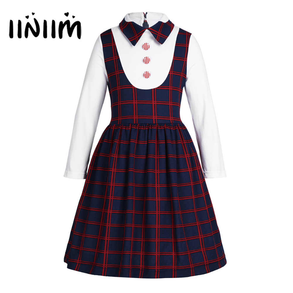 NEW Kids Girls School Uniform Lapel Plaid A-line False Elegant Dress Girls Fancy Costumes Party Casual School Dresses