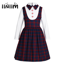 NEW Kids Girls School Uniform Lapel Plaid A-line False Elegant Dress Girls Fancy Costumes Party Casual School Dresses