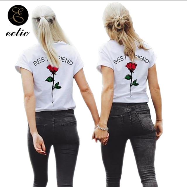5b21d320 Best Friend Tee Shirt 5xl Vetement Femme 2019 Rose Tshirt Back Print  Couples Matching Clothing Kawaii T Shirt Women Short Sleeve
