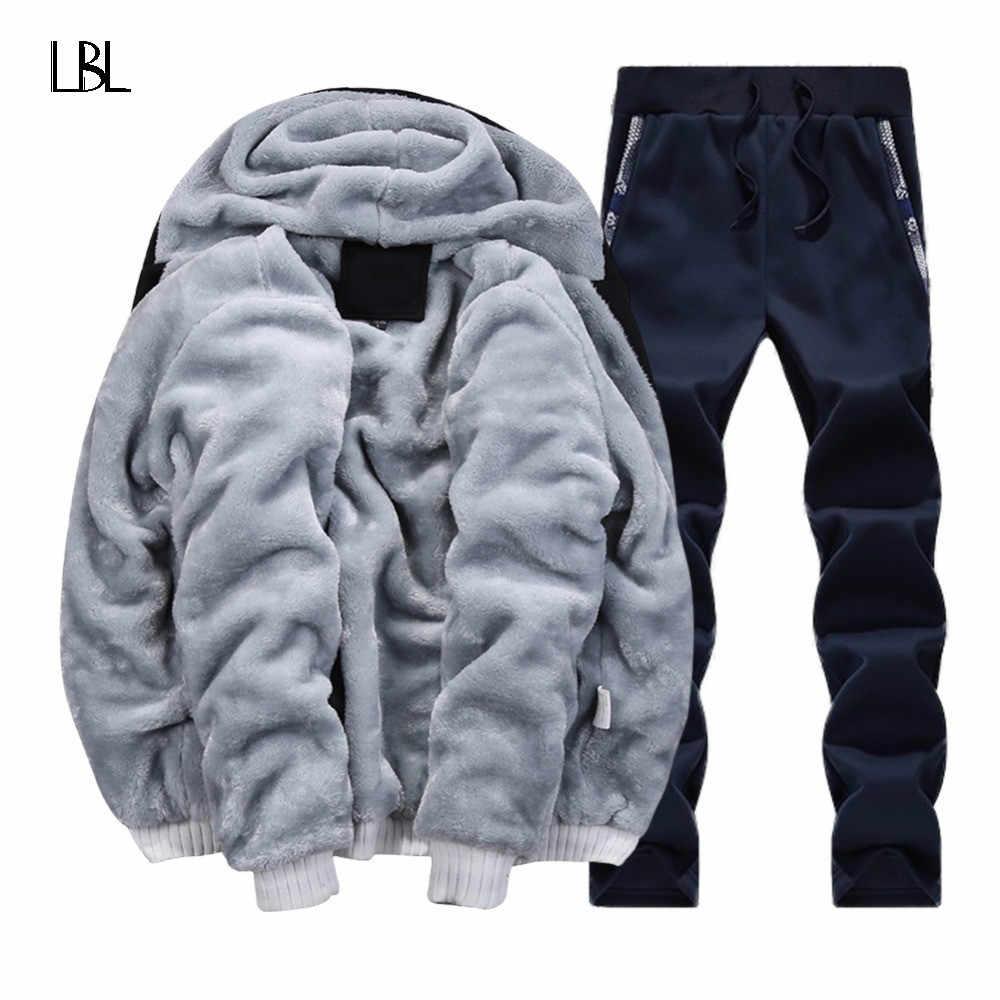 Брендовая зимняя теплая куртка с капюшоном из меха флисовые толстовки для мужчин 2018 куртка Для мужчин толстовки Для мужчин пальто + штаны, комплект из 2 предметов Шерстяной Спортивный костюм Для мужчин