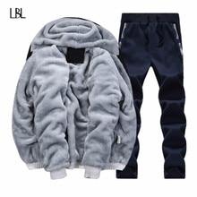 겨울 브랜드 따뜻한 후드 모피 양털 후드 남자 2020 재킷 남자 후드 티 스웨터 남자 코트 + 바지 2 PCS 카디건 Tracksuit 남자