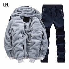 Inverno marca quente com capuz de pele de lã hoodies dos homens 2020 jaqueta hoodies moletom masculino casaco + calça 2 pçs cardigan agasalho