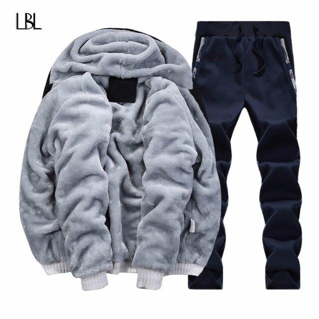 แบรนด์ฤดูหนาว WARM Hooded FUR ขนแกะ Hoodies ชาย 2020 ชายเสื้อ Hoodies เสื้อผู้ชายเสื้อ + กางเกง 2 PCS Cardigan ผู้ชาย Tracksuit