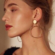 Простые модные геометрические большие круглые серьги-клипсы с золотым и серебряным покрытием без проколов, женские большие полые клипсы для ушей, ювелирные изделия