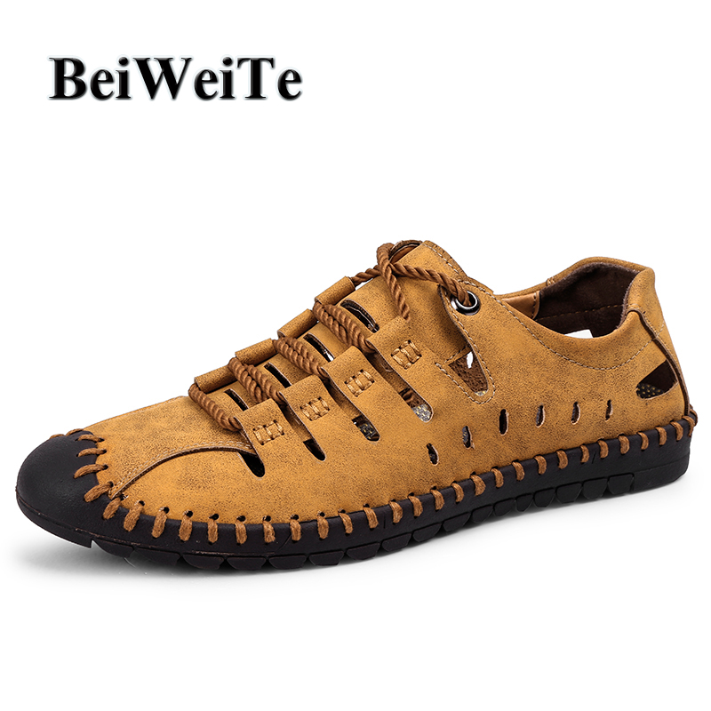 BeiWeITe Summer New Style Mens Outdoor Sandals Safety Closed Toe Breathable Beach Shoes  ...