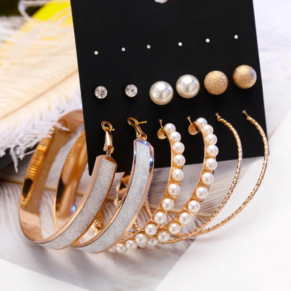 New Style Rhinestone Stud Earring Set For Women amazing price Mixed Imitation Pearl Earring Sets 6 Pairs Gold Silver Earrings
