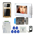 "FREE SHIPPING Wired 7"" TFT Monitor Video Door Phone Intercom System Outdoor Metal RFID Keypad Doorbell Camera Electric Door Lock"