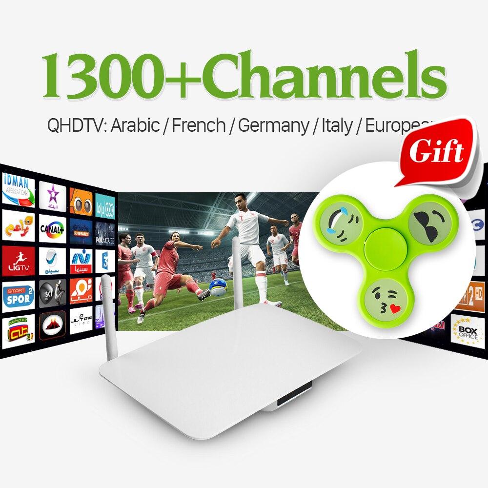 Prix pour L'europe Arabe IPTV Box Android Smart TV Set Top Box avec QHDTV Abonnement IPTV Compte Complet Europe Arabe Français 1300 canaux