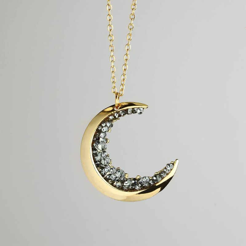 Celestial Jewelry Gold Crescent Moon Necklace Women Mom Friendship Jewelry Birthday Gift For Her Statement Nature Accessories