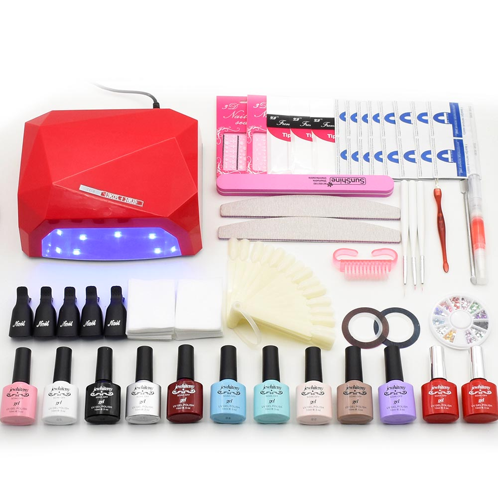 Nail Sets 36w uv Lamp Dryer Gel Nail Polish Soak Off Manicure Products UV Gel Extension Nail Polish Kit for Nail Art Tools 36w uv pro nail art uv gel kits sets tools 36w uv nail lamp manicure set soak off gel polish top