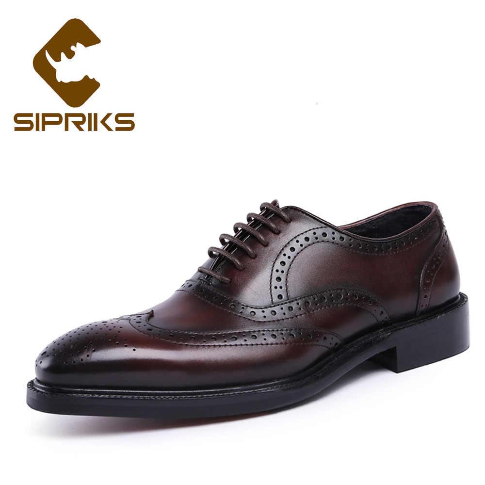 Sipriks Men Real Leather Full Brogue Shoes Dark Brown Bullock Dress Shoes  Retro Wingtip Banquet Gents 9d832a2374e1