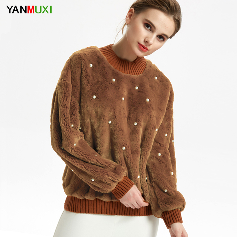 YANMUXI Pearl Beading Patchwork Faux Fur Fluffy Sweatshirt Womans Autumn Winter Warm Long Sleeve Pullovers Womens Sweatshirt
