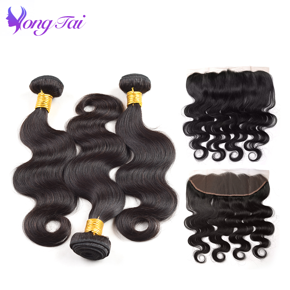 body wave bundles with frontal closure Raw indian hair bundles with frontal closure with 3 bundles remy human hair bundles