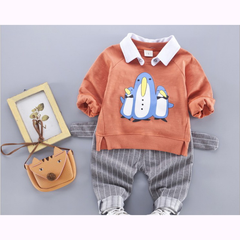 2017 Sale Infantis Children's Spring Autumn Cotton Boys Tops ees Long Sleeve T Shirt +pants 2pc/set kids Clothes 1-3y penguin 2017 spring autumn 1 6t kids cotton long sleeve t shirt baby boys girls age number blouse tops children pullovers tee camiseta