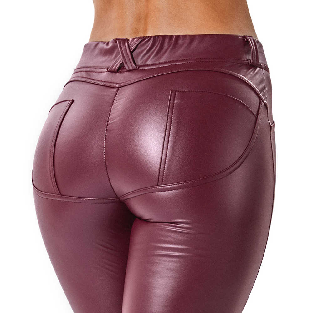 7bf6e10a82c9f ... Faux Leather Leggings Navy Blue Sexy Women Leggins Thin Black Leggings  Back Pocket Wine Red Leggings ...