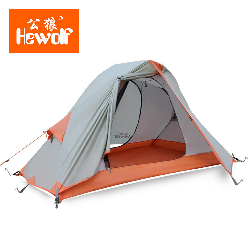 Hewolf 2 Person Tents Camping Tents Double Layer Waterproof Windproof Outdoor Tent For Hiking Fishing Hunting Beach Picnic Party 3 4 person tents rainproof waterproof outdoor camping tent tourist tent for hunting picnic party camping