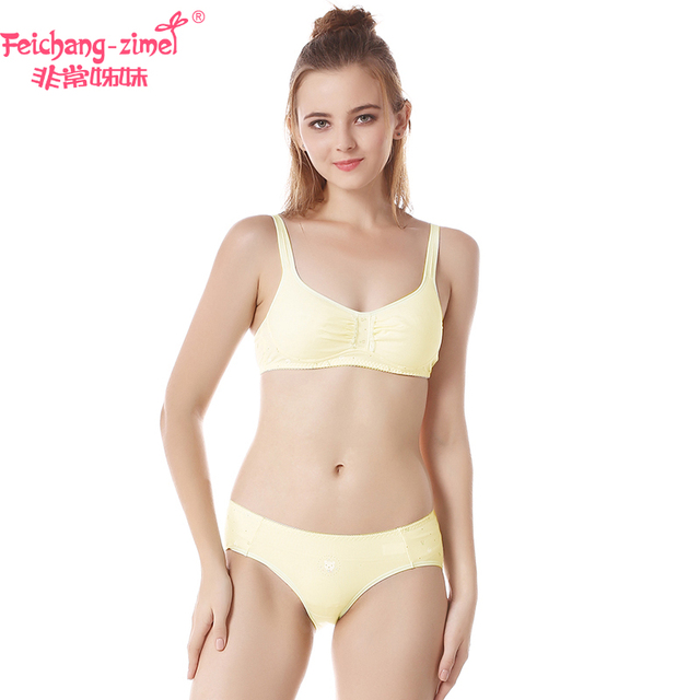 611310ce748b Free Shipping Feichangzimei Girls Underwear SetGirls Bra And Panties Cotton  Yellow /Pink Lace A/B Cup Bra Set -100132S