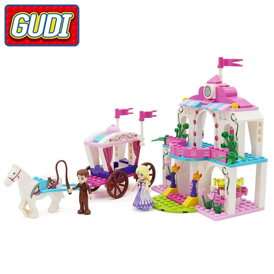 GUDI Toy  Girls Blocks Princess Pink Carriage Castle 183pc Bricks Girl Building Block Set Educational Toys For Children