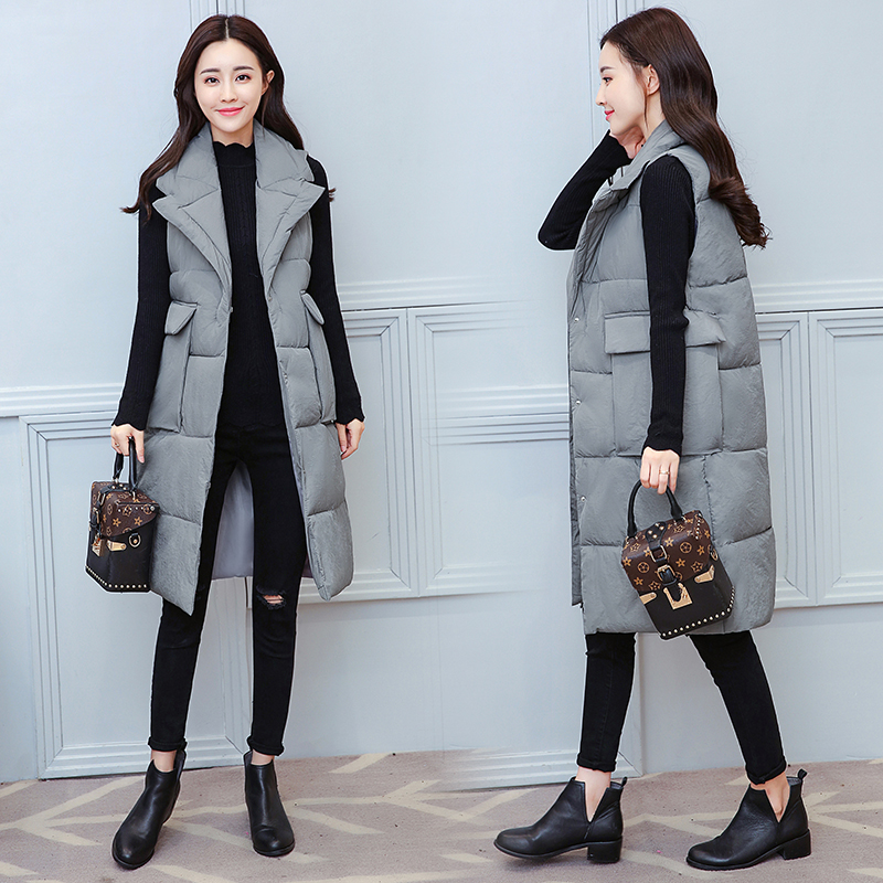 2018 New Winter Long Vest Women Fashion Turn-down Collar Big Pocket For Female Casual Solid Sleevless Cotton Padded Jacket Coat
