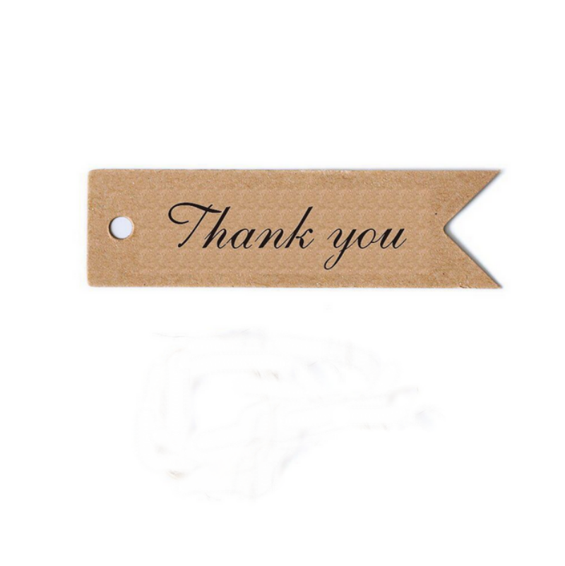 "100 x vintage brown paper mark ""thank you"" kraft paper"
